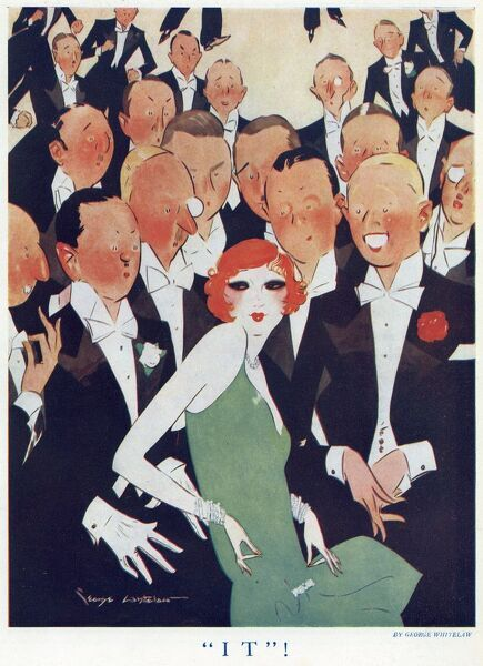 Colour illustration showing an attractive socialite surrounded by attentive gentlemen