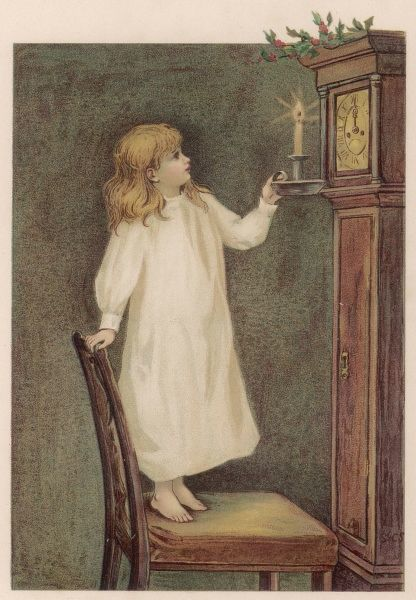 'Is it Christmas yet ?' - an impatient girl inspects the grandfather clock with her candle
