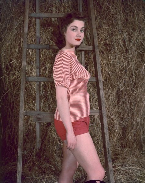 A young woman, posed against a ladder in a hay loft, wears a red & white striped shirt with a batou neck & red shorts with cuffs