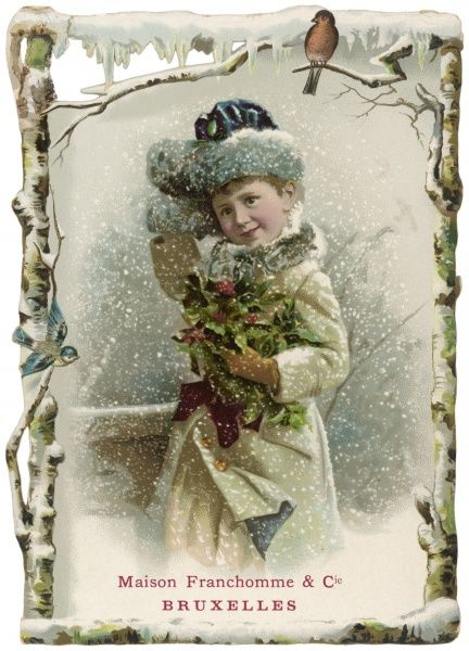 A well-wrapped up girl carries an armful of holly as the snow falls around her (one of a series)
