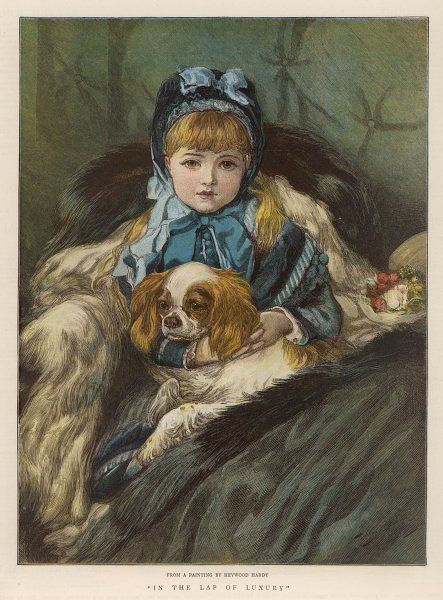 A well-wrapped up little girl in a carriage holds her Charley in her lap