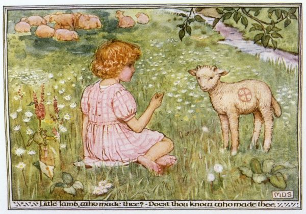 A little girl in a meadow chats to a lamb. Date: 1912
