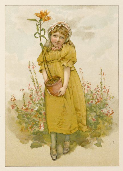 A little girl in a garden carries a potted lily