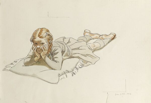 A girl lying down on cushion on her front, her head cupped in her hands. Watercolour study by Raymond Sheppard