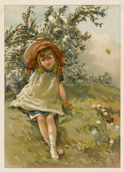 A little girl in a meadow: 'Queen of the May&#39