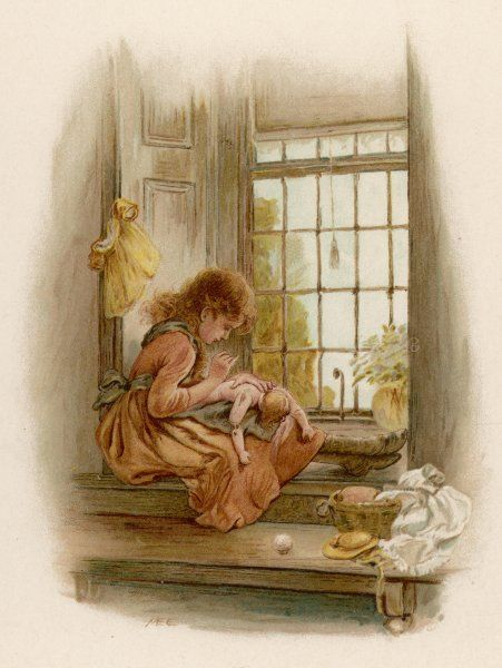 A girl sits in a window-seat, mending her doll