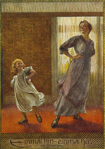 A little girl and her mother have fun dancing. Date: early 20th century?