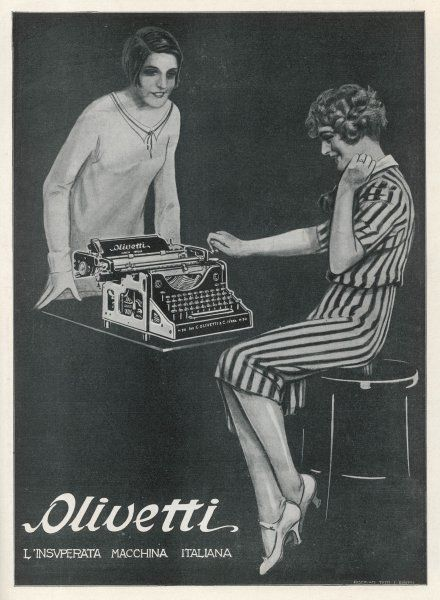 This typist is delighted with her new Olivetti typewriter - her colleague is delighted for her, but envious for herself