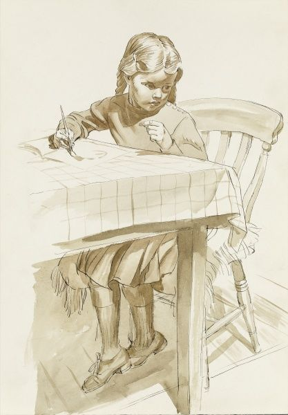 A young girls sits at a table painting in her sketchbook. Watercolour study by Raymond Sheppard