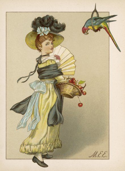 A smartly-dressed girl with a basket of cherries and a parrot