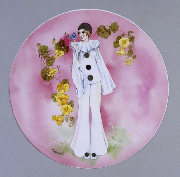 Girl in a Pierrot Costume in this stylised circular painting by Malcolm Greensmith