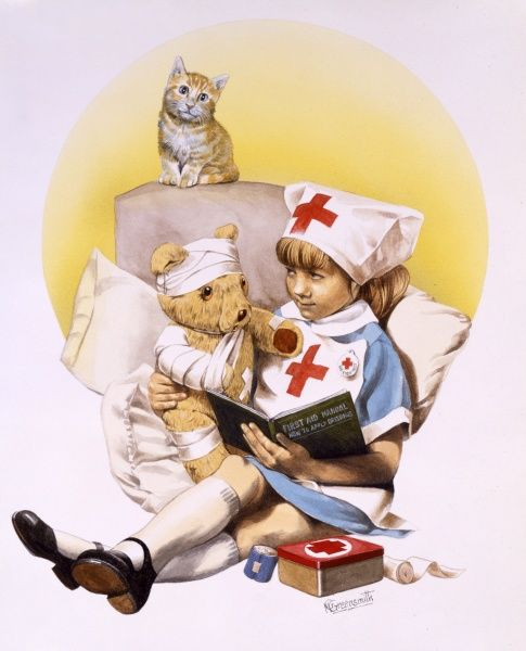 A young girl in her nurses outfit, tends to her teddy's injuries with copious bandaging, whilst a pet cat watches on. She seems to be getting her medical knowledge from the First Aid manual in her lap. {Painting by Malcolm Greensmith