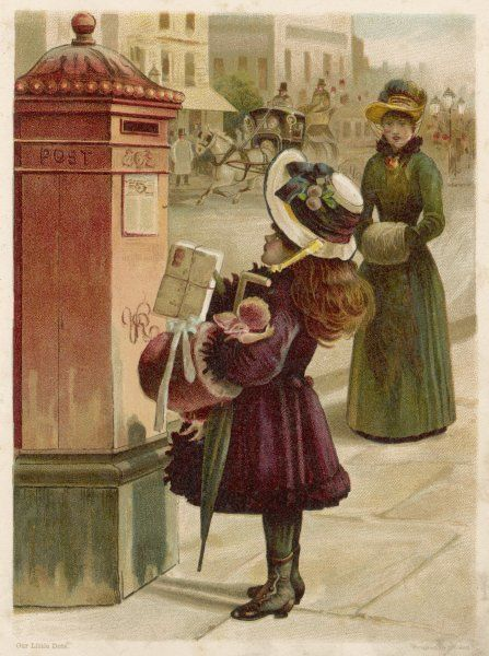 A little girl in a huge fruit festooned bonnet, arms full with a doll, umbrella & muff, looks up at the high slot on the red pillar box & wonders how she will ever reach it