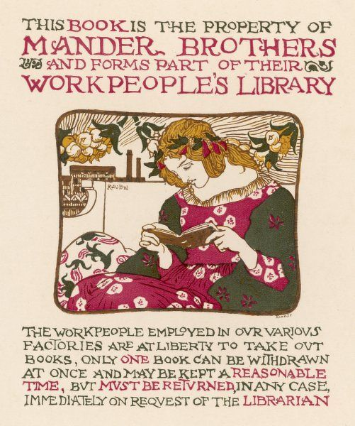 Bookplate for use in Mander Brothers Workpeople's Library
