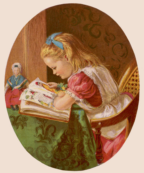 A young girl with a blue ribbon in her hair reads 'Struwelpeter&#39