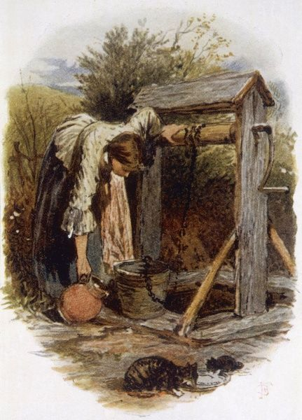 A girl fills her pitcher from the bucket of a rustic well