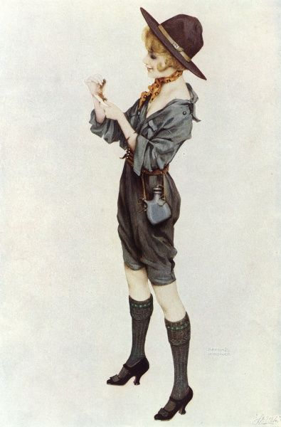 A girl scout, wearing her uniform rather casually. Date: circa 1914