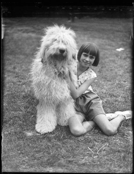A little girl with bobbed hair, photographed with her Old English Sheepdog