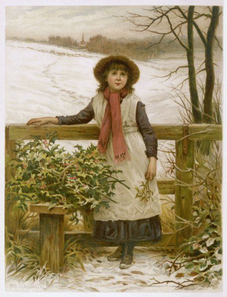 A country girl stands at a stile with a load of holly and a sprig of mistletoe