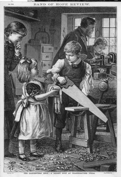 A young girl takes her doll to a carpentry shop and asks them if they would mend her doll, whose head has fallen off. Date: 1879