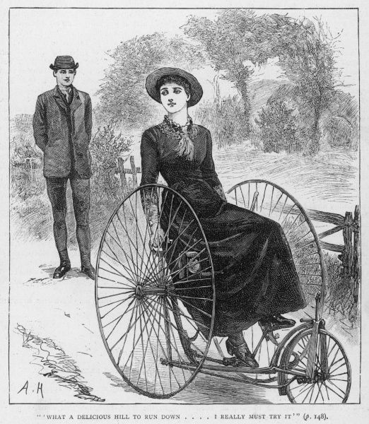A Victorian girl on her tricycle