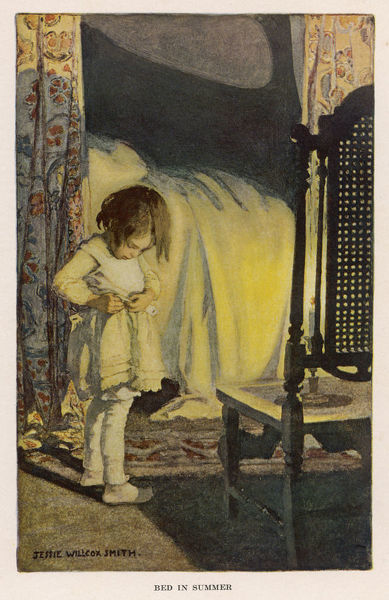 "Bed in Summer: ""In winter I get up at night, & dress by yellow candle- light. In summer quite the other way; I have to go to bed by day.&quot"