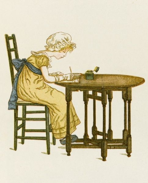 A Victorian girl at her writing table with ink pen and pot