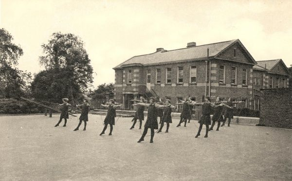 A group of older girls demonstrate their skipping skills at the Alexandra Orphanage on Maitland Park Road, Haverstock Hill, North London