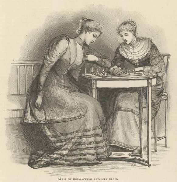 Dress of Hop-Sacking and Silk Braid. Two women sit at a table in the fashionable attire of the day