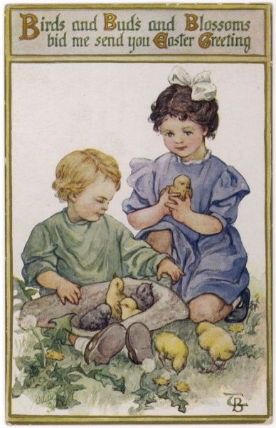 Two children play with chicks