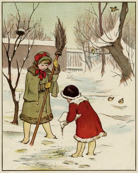Two little girls go out into the snow to scatter food for the birds. Date: circa 1880
