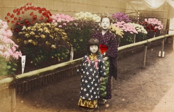 Girls (possibly Japanese?) at a Flower Show in Hong Kong, China Date: 1909
