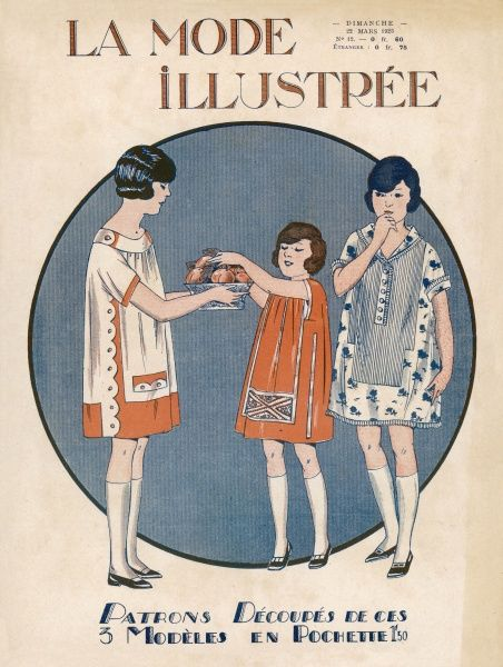 Girls wear practical short frocks: gathered from a broad collar & with scollop detailing or shirt style with turn over collar & a deep yoke / shirt front in a contrasting fabric
