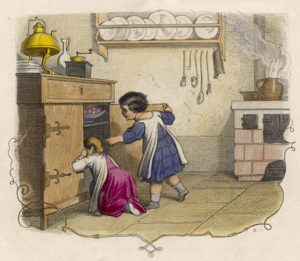 Two little girls search for something in the kitchen cupboard, while food cooks on the hob