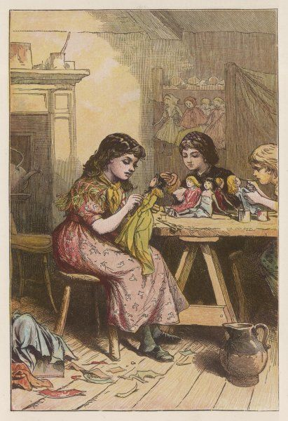 Three little girls sit at a table in a shabby-looking room, making dolls for children better off than themselves