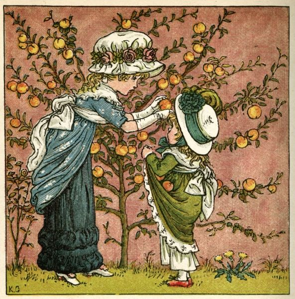 Two girls picking apples from a tree.  1880