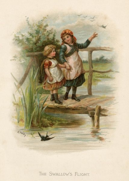 Two little girls cross a river by means of a rustic bridge; swallows fly around them