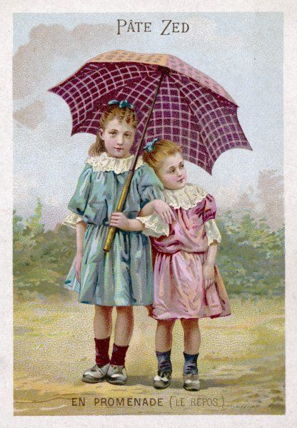 Two sisters share a brolly