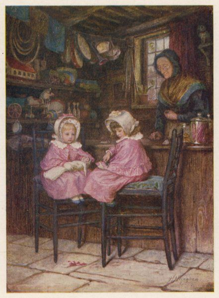 Two little girls, dressed in their best pink dresses, sit at the counter of a toy and sweet shop