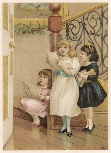 Three little girls in their best clothes sing carols on Christmas morning