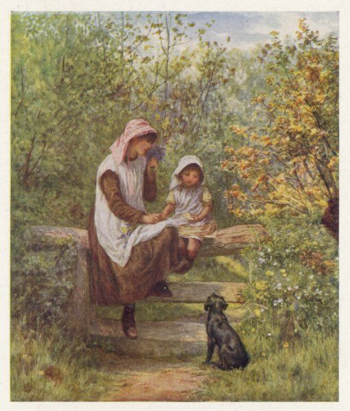 Two girls sit on a stile, while their little dog looks up at them expectantly