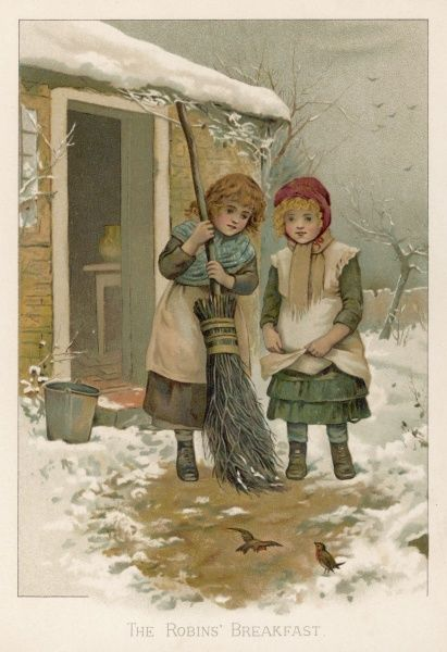 Two little girls sweeping snow away from the doorway: two robins pay them a visit