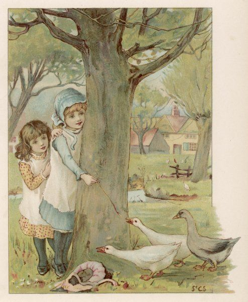 Two children watch the approach of three geese with trepidation, taking refuge behind a tree