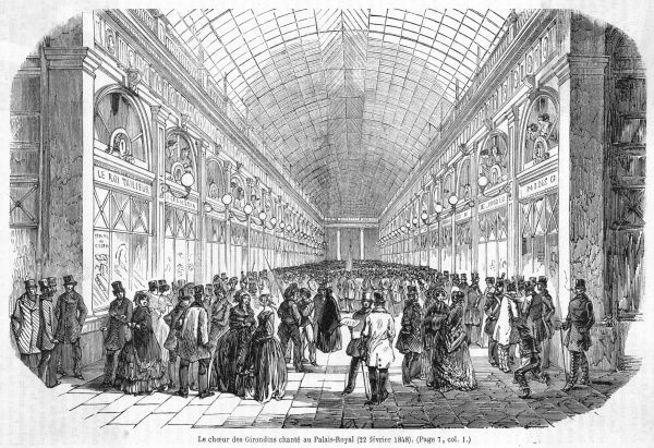 Celebrating the abdication of Louis Philippe, the Girondins stage a concert in the Palais Royal, Paris : but their jubilation is somewhat premature