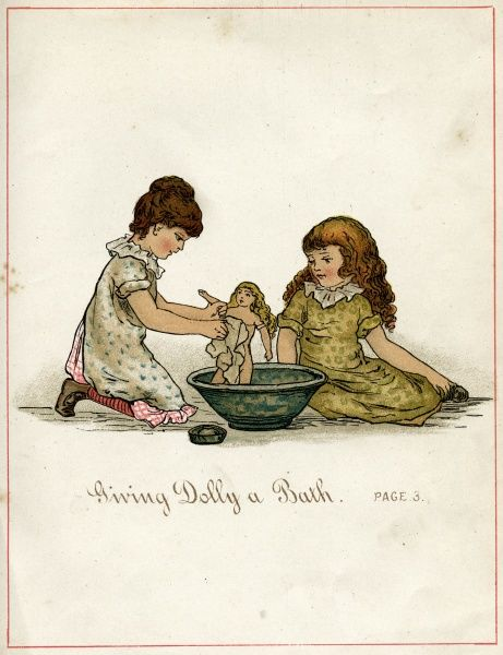 Two little girls washing their dolly in a bowl Date: 1882