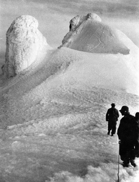 Climbers reach the peak of a glacier. Date: 1930s