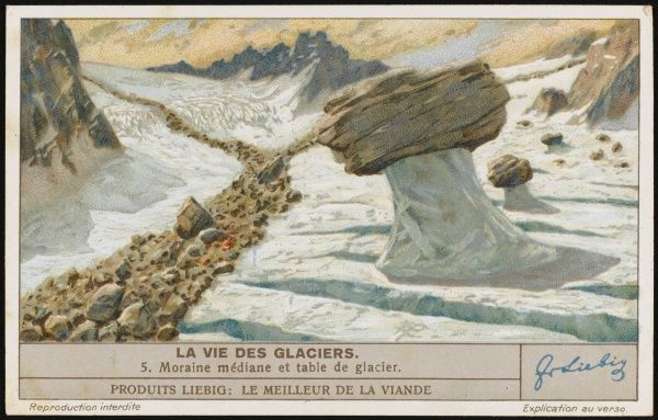 5 - Medial moraine of till (rocky detritus) deposited by a retreating glacier, and a 'table' created by ice supporting a rock