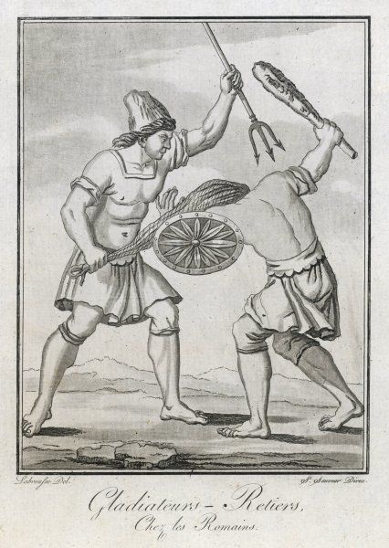 Two Roman gladiators - one with net and trident, his opponent with club and shield