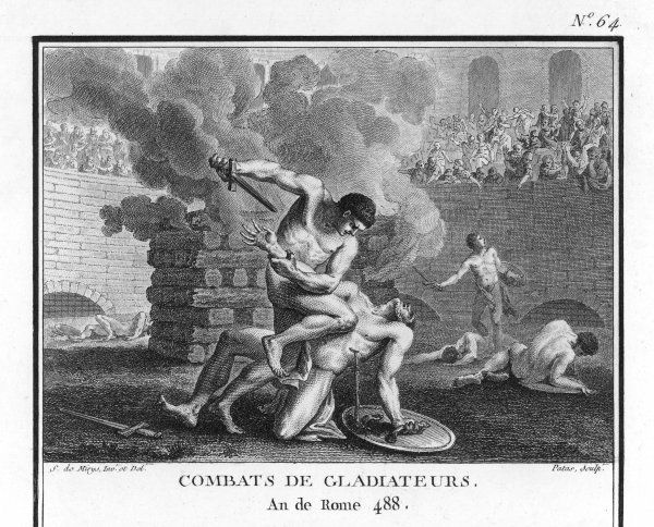 Gladiators in combat in mortal combat in an arena (with fire behind them)