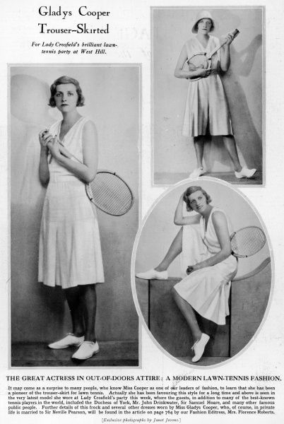British actress, Gladys Cooper (1888 - 1971), pictured modelling a trouser skirt, divided skirt or culottes for tennis. The look was also pioneered by Spanish tennis player Lili de Alvarez in 1931
